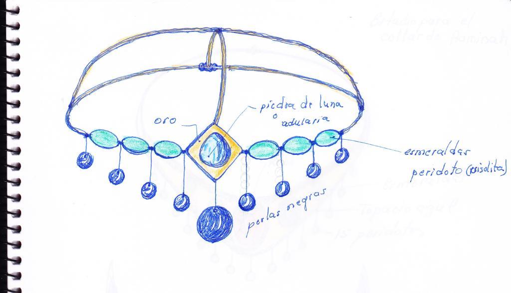 boceto para el tocado de esmeraldas y perlas