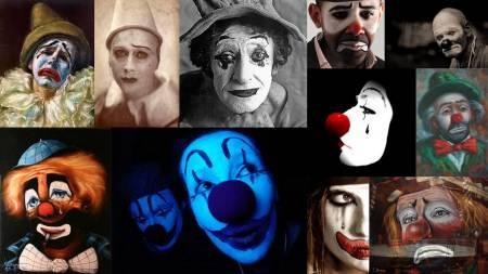 collage de caras de payasos